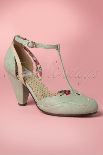 269a57f8667118 Bettie Page Shoes Annalise T Strap Pump Mint Green 401 40 12626 20140415  0004W