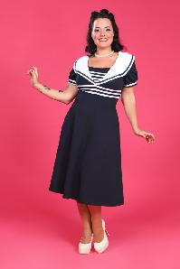 50s Carla Striped Sailor Dress in Navy White