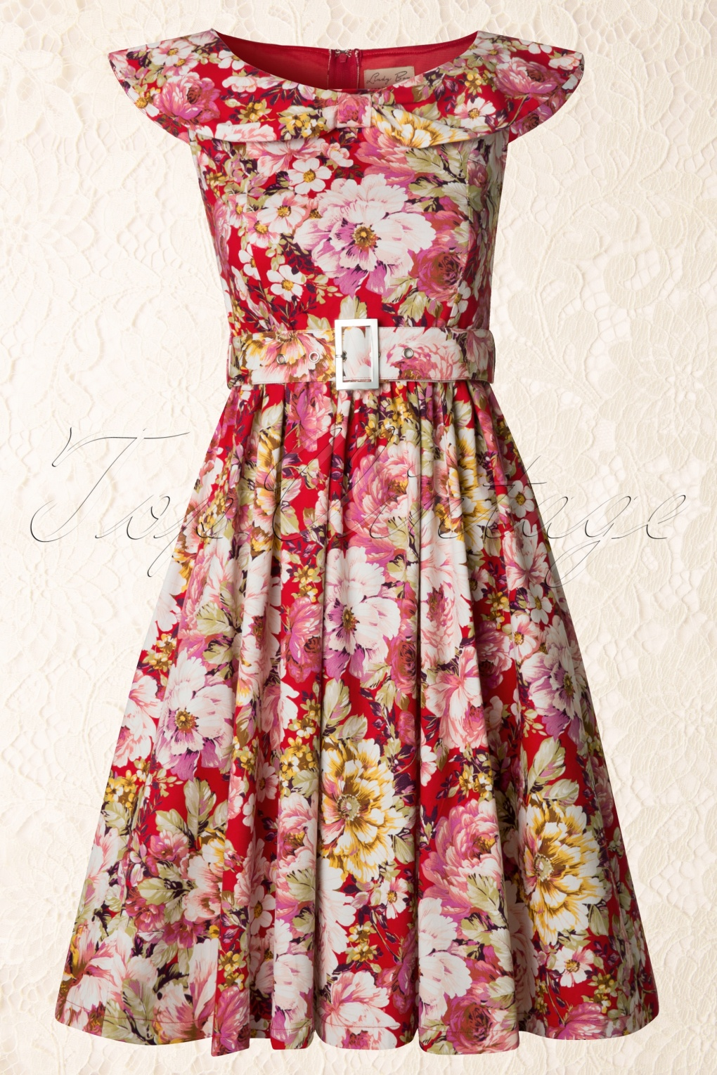 1950s Hetty Swing Dress In Floral Pink