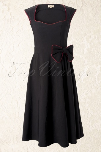 Lindy Bop 50s Grace Black Swing Dress 10605W