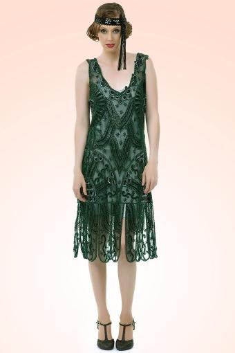 20s royal flapper dress in emerald green. Black Bedroom Furniture Sets. Home Design Ideas
