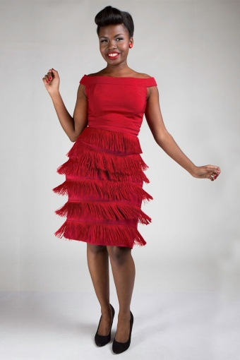 20s gatsby fringe dress in red