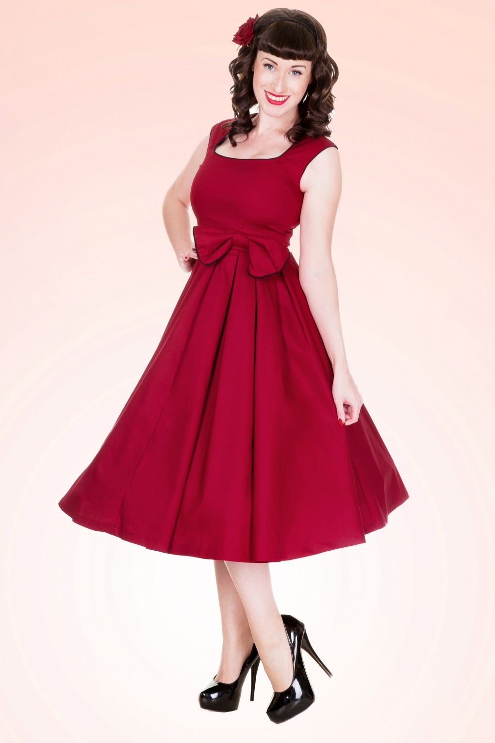 1950 S Grace Red Bow Vintage Style Swing Party Rockabilly Ev