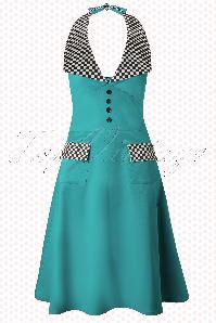TopVintage exclusive ~ Trixie Race Dress Années 1950 en Bleu