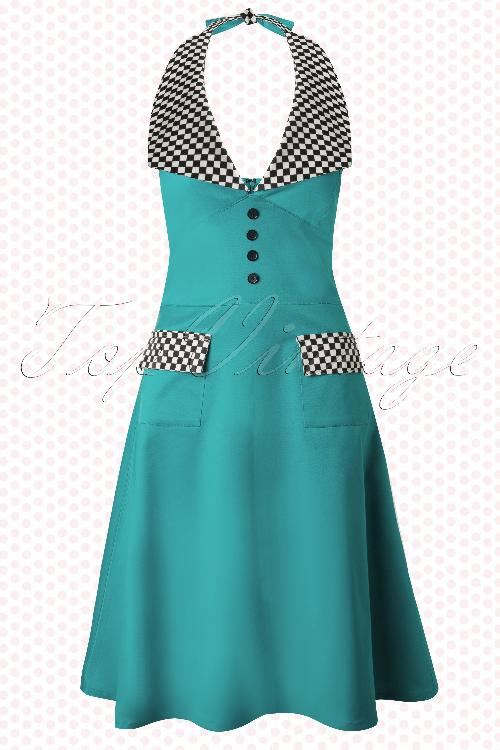 Whispering Ivy Rockabella Rockabilly Blue Checkered Dress 106 30 12671 20140521 0005W
