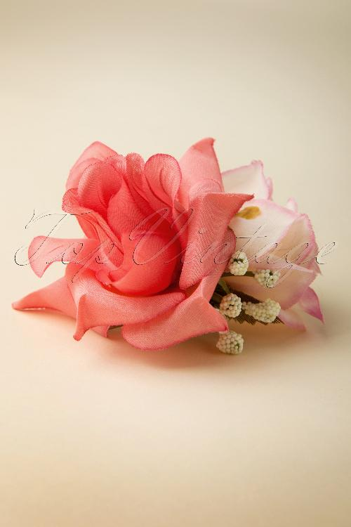 Collectif Clothing Double Hairflower Pink Roses Broche 200 22 13134 20140516 0002W