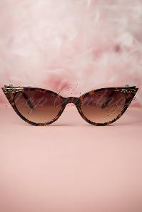 50s Vintage Cat Eye Diamond Sunglasses in Tortoise
