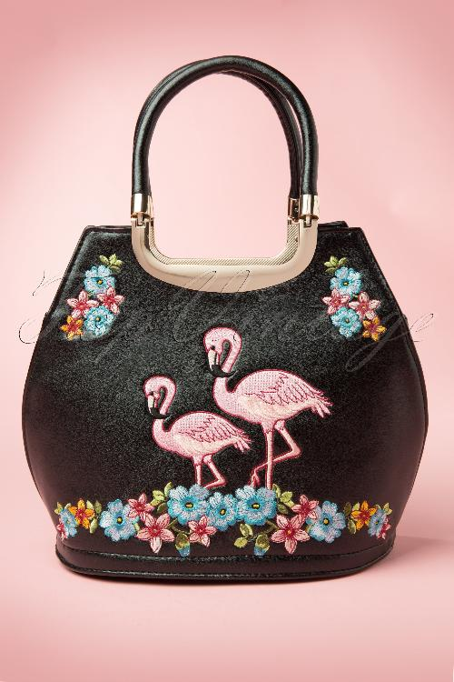 Banned Black handbag with Pink Flamingos 212 22 12773 20140604 0017W