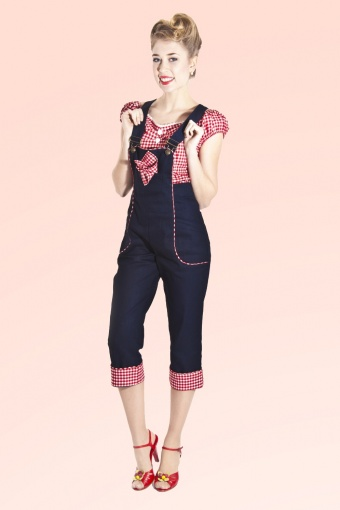 Frieda Dungarees Denim Gingham
