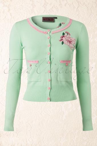Vixen  Light Green Pink Flower Cardigain 140 40 12567 20140219 0006W