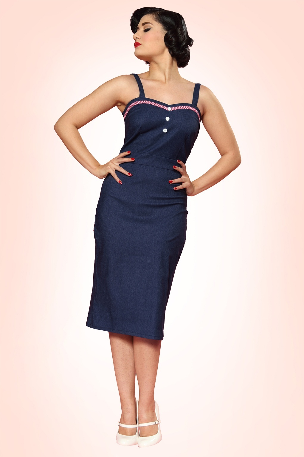 50s Betty Bakes Pencil Dress in Denim Blue