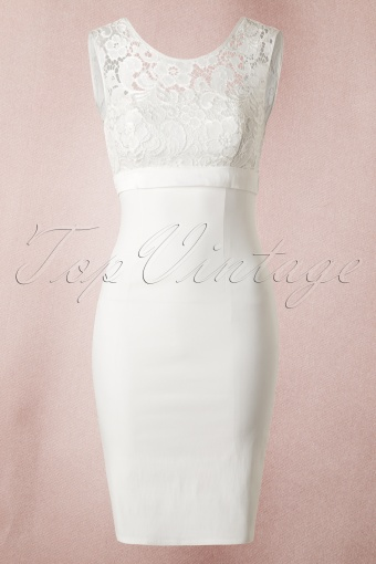 50s white lace bow pencil dress for Pencil dress for wedding