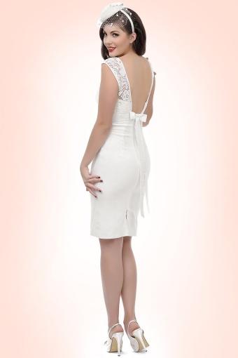 50s White Lace Bow Pencil Dress