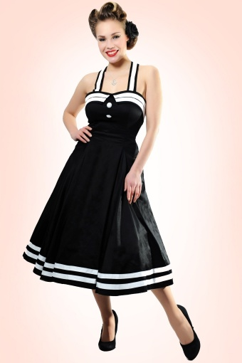 50s Sindy Doll Sailor black swing dress 10321W