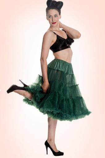 unny 50s retro Petticoat chiffon Bottle Green 10982