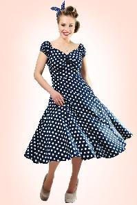 50s Dolores Doll dress Navy White polka swing dress