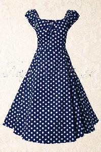 Collectif Dolores Doll Blue Polka Swing Dress 10243W