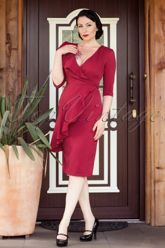 Collectif Clothing  Rita Dress Burgundy 101 20 12380 20140204 0005WAva