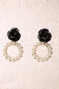 Black Pearly Rose Earring en Doré
