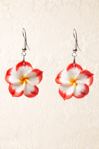 Collectif Clothing 50s Hawaiian Flower Dangly Red  77 4943 20130607 0002AW