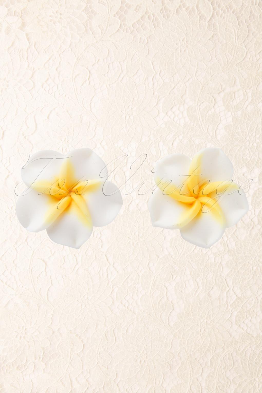50s Hawaiian Flower Studs Earstuds Yellow