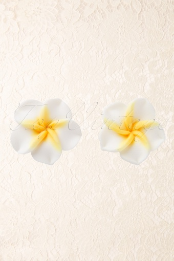 Collectif Clothing 50s Hawaiian Flower Studs Earstuds Yellow 77 4942 20130607 0002AW
