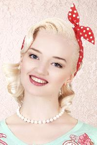 50s Pin-Up Dot Hair Scarf Red&White
