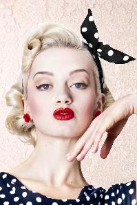 50s Pin-Up Dot Hair Scarf Black and White