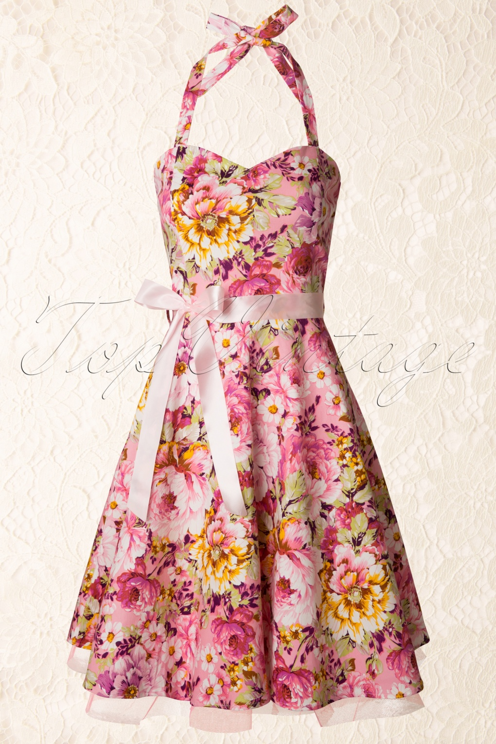 1950s Bonnie Swing Dress Floral Pink