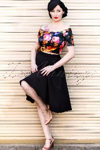 51 3052 20130110 0008 Steady Clothing 50s High Waisted Thrills Skirt Black SwingW