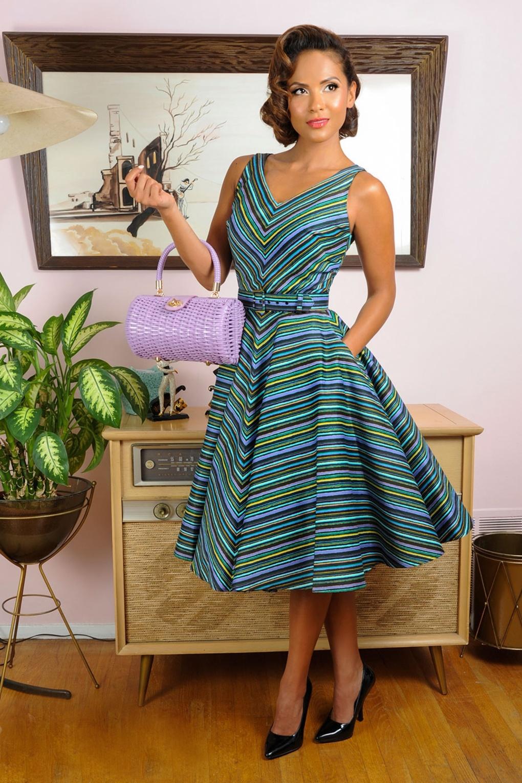 50s Havana Nights Dress In Cabana Stripes