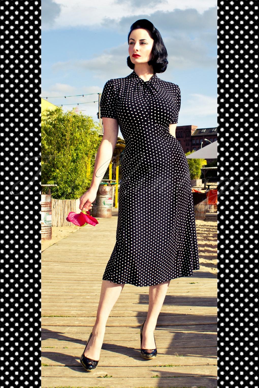 1940 S 1950 S Amie Classy Black Vintage Polka Dot Flare