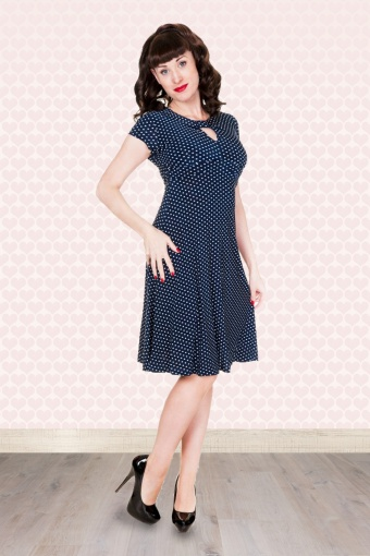 lindy bop juliet classy polka dot vintage ww2 landgirl 1940s 1950s blue pinup retro tea dress p143 2731 Achtergrondje