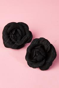 Pin-Up Pair Of Black Flower Hairclips Années 50