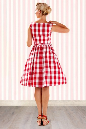50s Audrey Picnic Swing Dress in Red And White