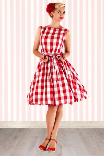 c3b59cd6dcef3c 50s Audrey Picnic Swing Dress in Red And White