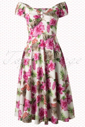 Collectif Clothing Dolores Pink Hibiscus Swing Dress 102 59 13279 20140528 0009W