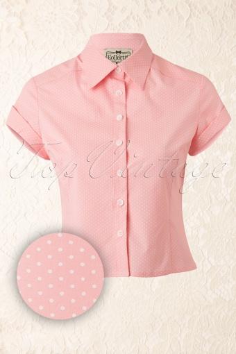 Collectif Clothing  Virginia Mini Pindot Blouse Pink 112 29 12537 20140214 0004WAV