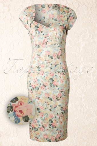 Collectif Clothing Regina Candy Bloom Pencil Dress 100 59 13270 20140519 0002WAV