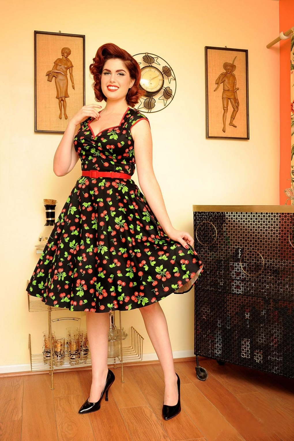 Rockabilly Dresses | Rockabilly Clothing | Viva Las Vegas Heidi Black Cherry Swing dress £108.04 AT vintagedancer.com
