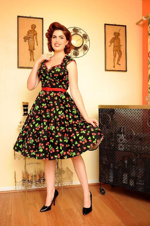 33904336f80 Pinup Couture Heidi Black Cherry Swing dress