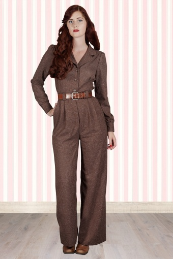 d156c03289c5 40s The Feminine Flair Jumpsuit in Brown and Beige