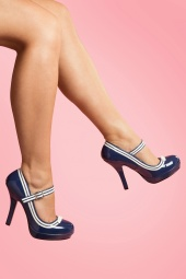 Secretary Mary Jane Velvet Bow Blue platform pumps