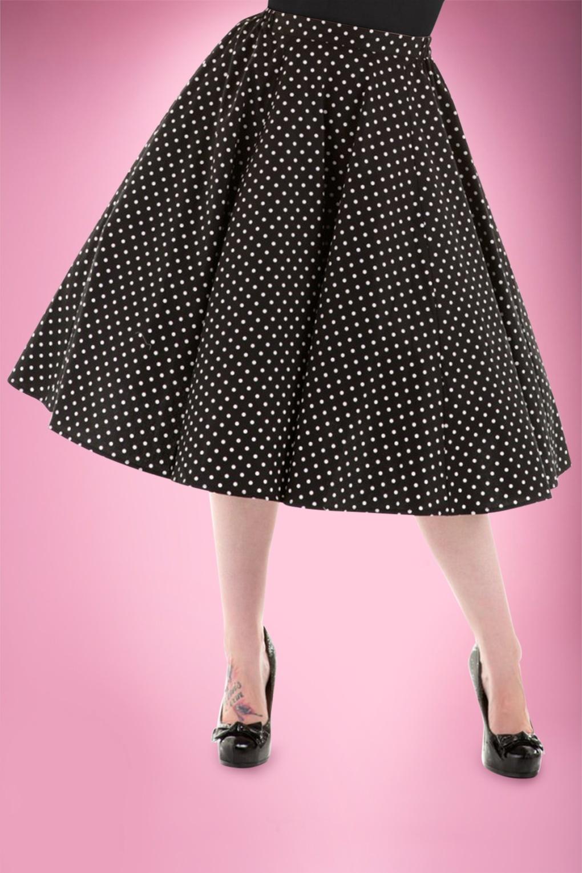 50s Suzie Polkadot Swing Skirt in Black