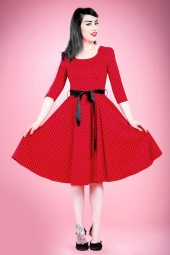 Hearts and Roses Red and Black Swing Polkadot Dress 102 27 14133 4