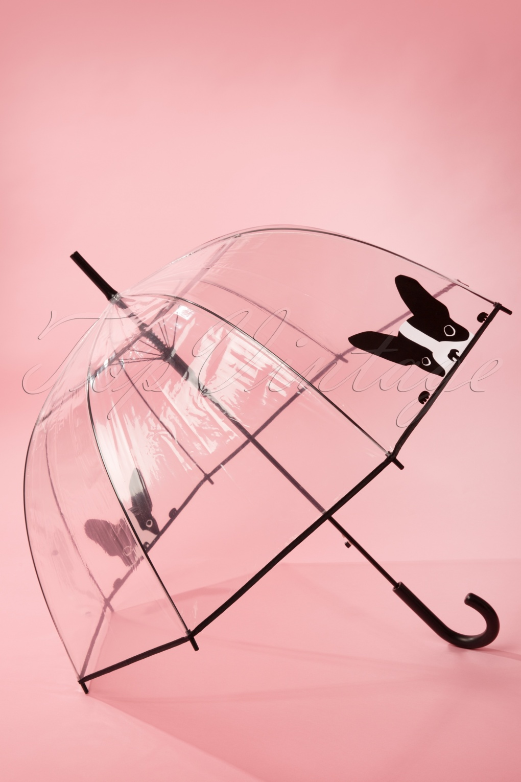 Vintage Style Parasols and Umbrellas 50s Its Raining Dogs Transparent Dome Umbrella £15.79 AT vintagedancer.com