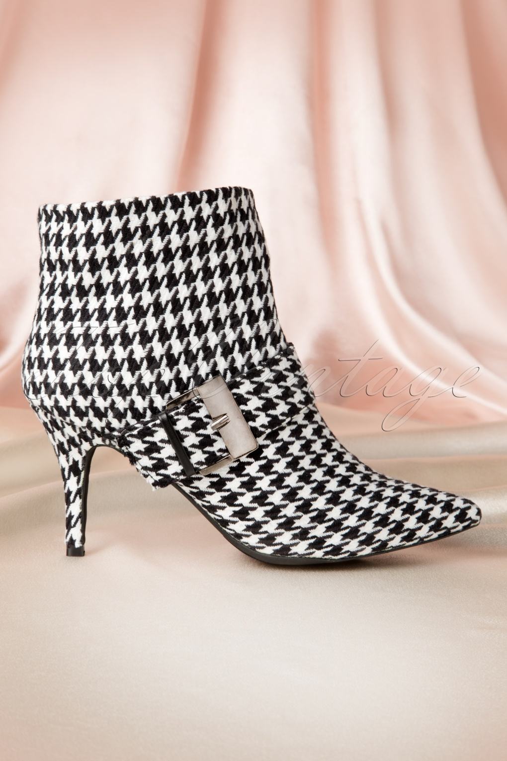 60s Classy Houndstooth Ankle Booties