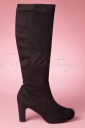 60s Priscilla High Suedine Boots in Black