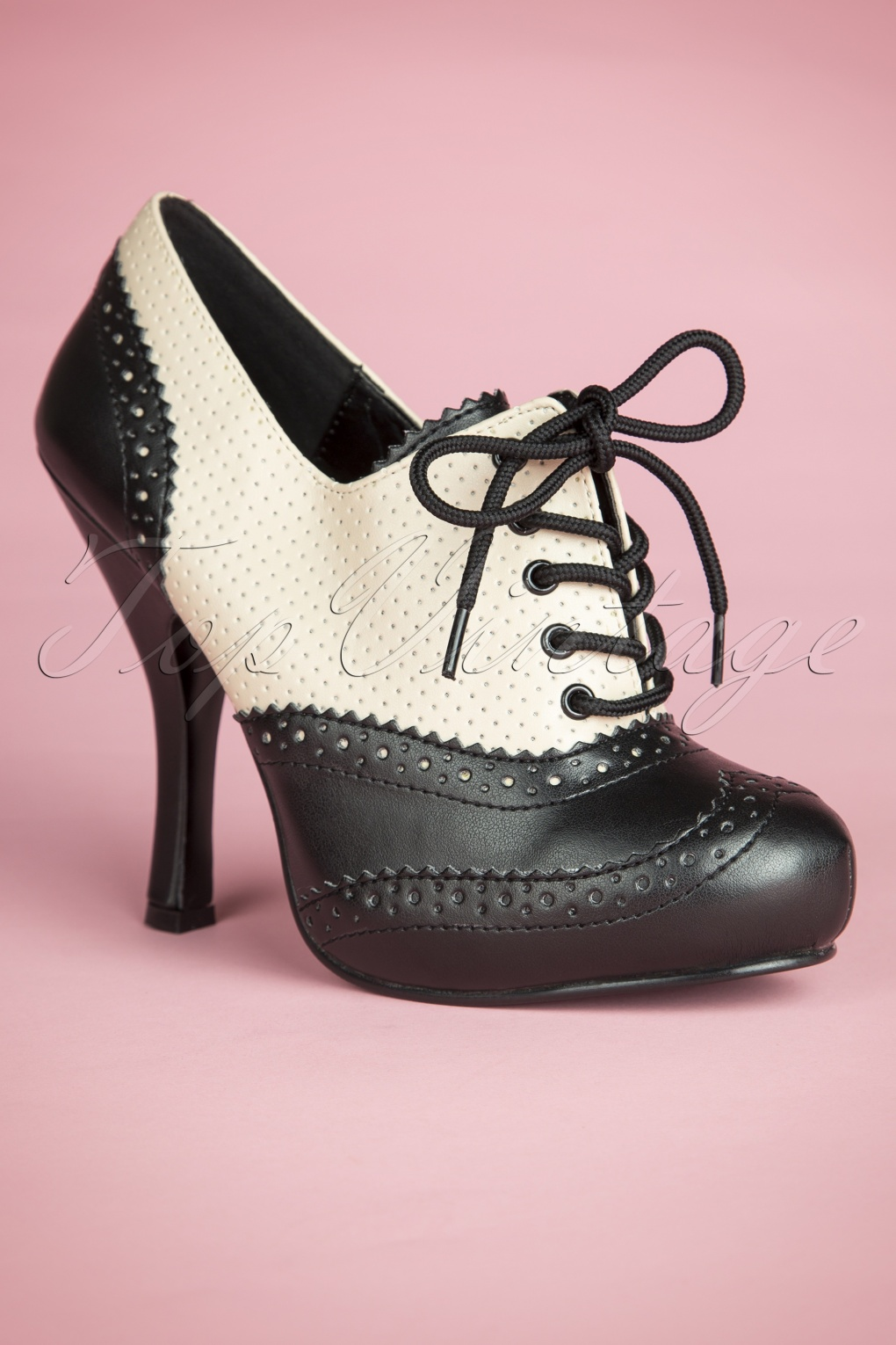 Pin Up Shoes- Heels & Flats 50s Classy Cream and Black Lace Up Booties £63.58 AT vintagedancer.com