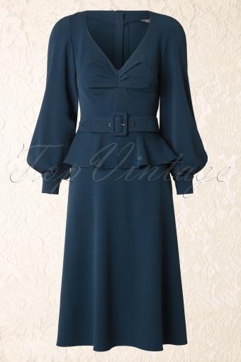Miss Candyfloss Hanna Petrol Peplum Dress 102 30 14319 20141015 0007W